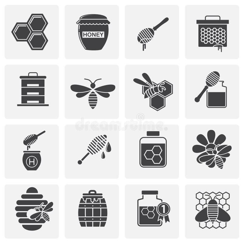 L'apicoltura ha collegato le icone messe su fondo per il grafico ed il web design Illustrazione semplice Simbolo di concetto di I illustrazione di stock