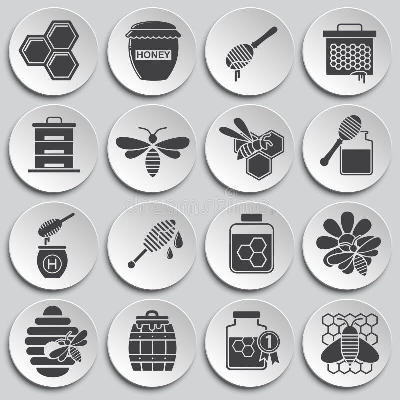L'apicoltura ha collegato le icone messe su fondo per il grafico ed il web design Illustrazione semplice Simbolo di concetto di I royalty illustrazione gratis