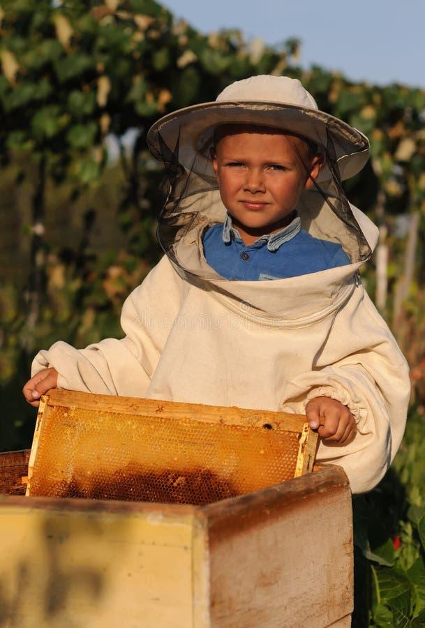 L'apiculteur de petit garçon travaille à un rucher à la ruche images libres de droits