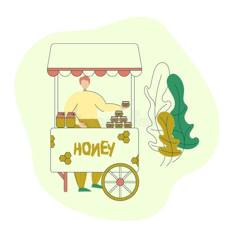 L'apiculteur vend le miel au marché d'agriculteurs Processus de fabrication organique d'affaires de miel Bande dessin?e ? la mode illustration libre de droits