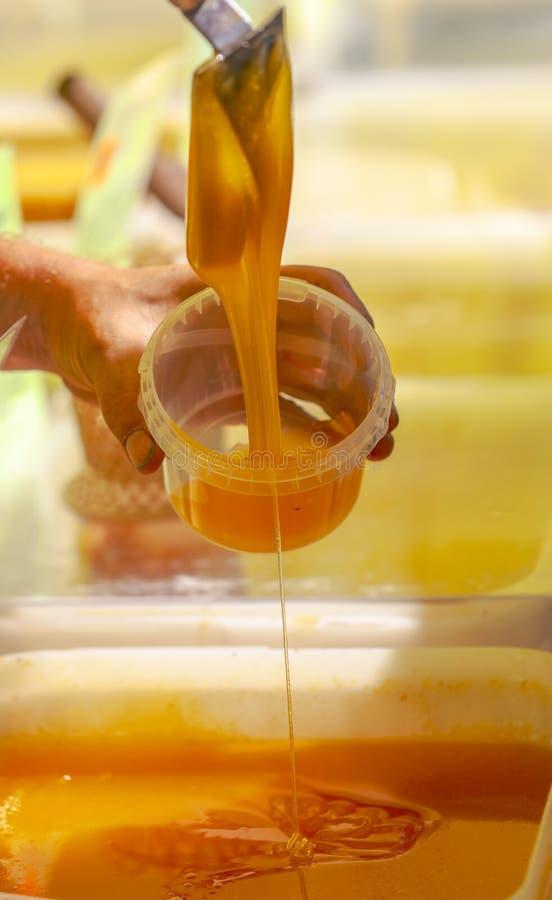 L'apiculteur verse le miel dans le conteneur sur le marché image libre de droits