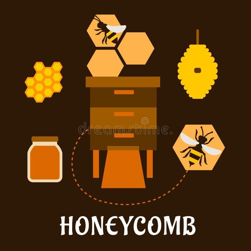 L'apiculture à plat infographic avec des abeilles et des ruches illustration libre de droits