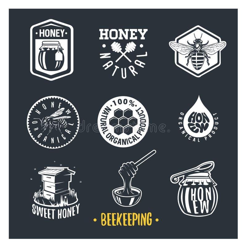 l'apiculture Ensemble de labels de miel de vintage illustration stock