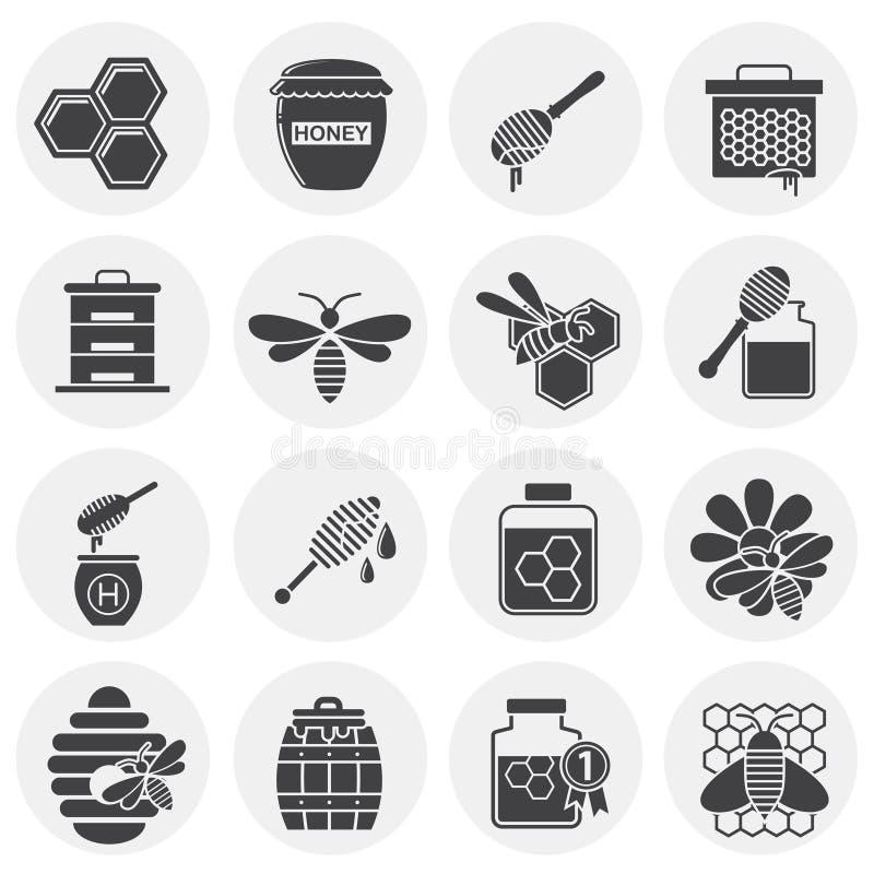 L'apiculture a rapporté des icônes réglées sur le fond pour le graphique et la conception web Illustration simple Symbole de conc illustration stock