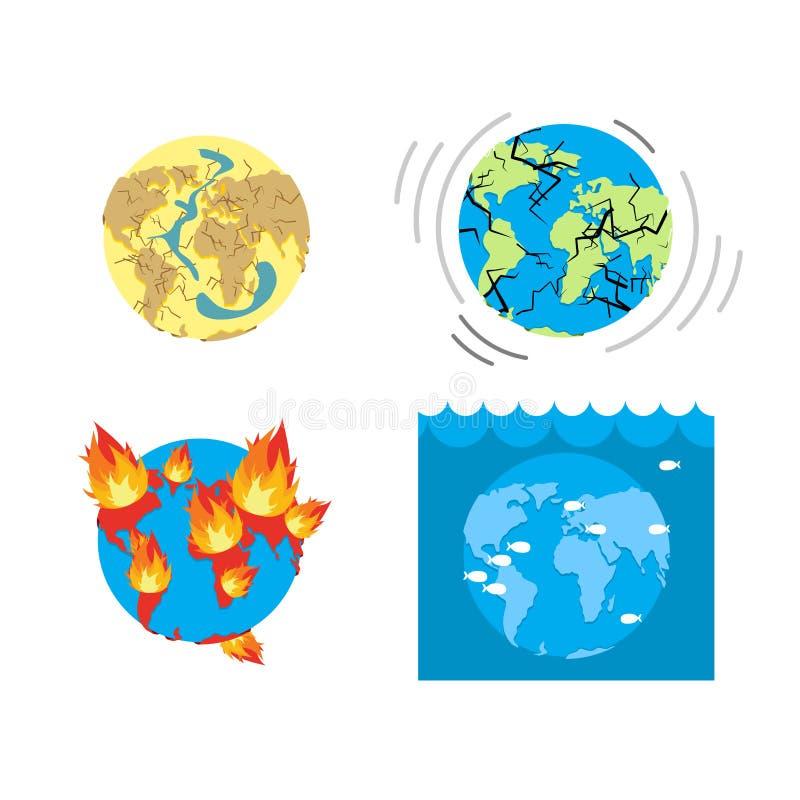 L'apocalypse dactylographie l'extrémité du monde Catastrophes de la terre Ensemble de catastro illustration de vecteur