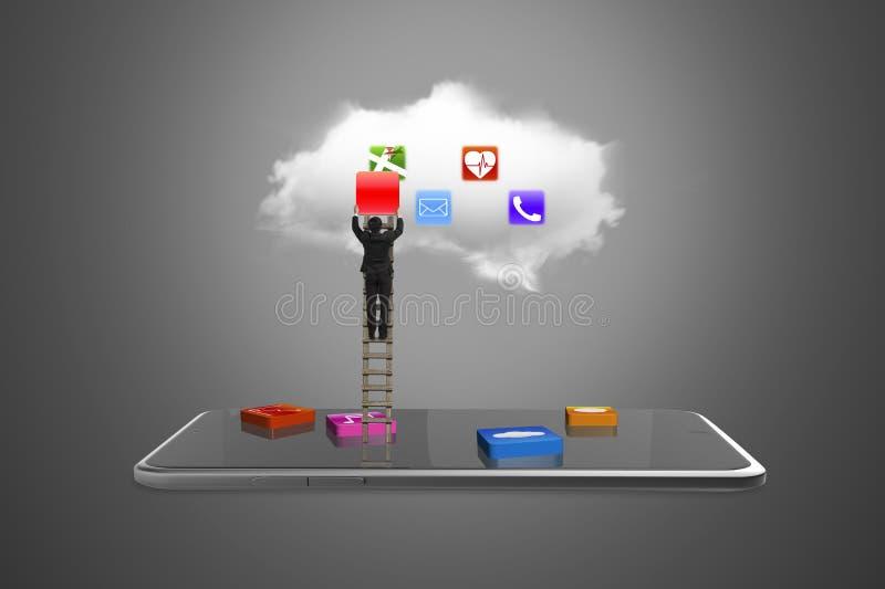 L'APP bloque le comprimé intelligent avec le ladd s'élevant de nuage et d'homme d'affaires illustration stock