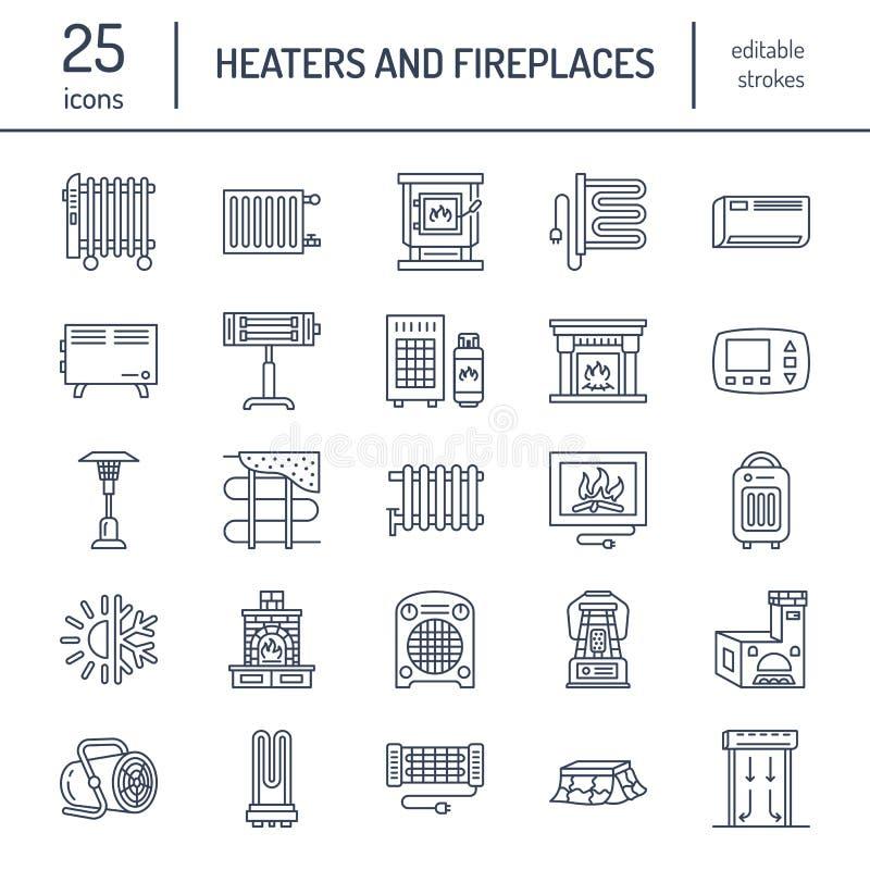 L'appareil de chauffage d'huile, la cheminée, le convecteur, le radiateur de colonne de panneau et d'autres appareils de chauffag illustration de vecteur