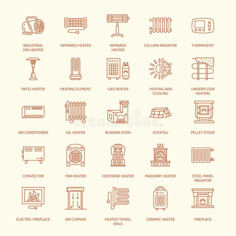 L'appareil de chauffage d'huile, la cheminée, le convecteur, le radiateur de colonne de panneau et d'autres appareils de chauffag illustration stock