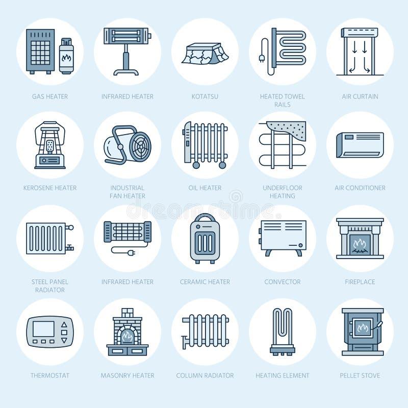 L'appareil de chauffage d'huile, la cheminée, le convecteur, le radiateur de colonne de panneau et d'autres appareils de chauffag illustration libre de droits