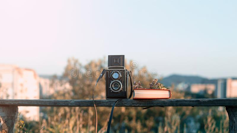 L'appareil-photo de film de vintage avec le livre et les fleurs sur le banc de parc derrière la ville verte aménagent en parc photographie stock libre de droits