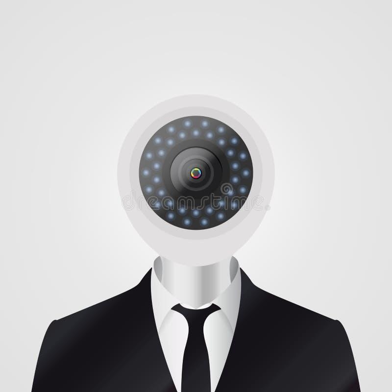 L'appareil-photo de télévision en circuit fermé a dirigé l'homme Concept de garantie Vecteur illustration de vecteur
