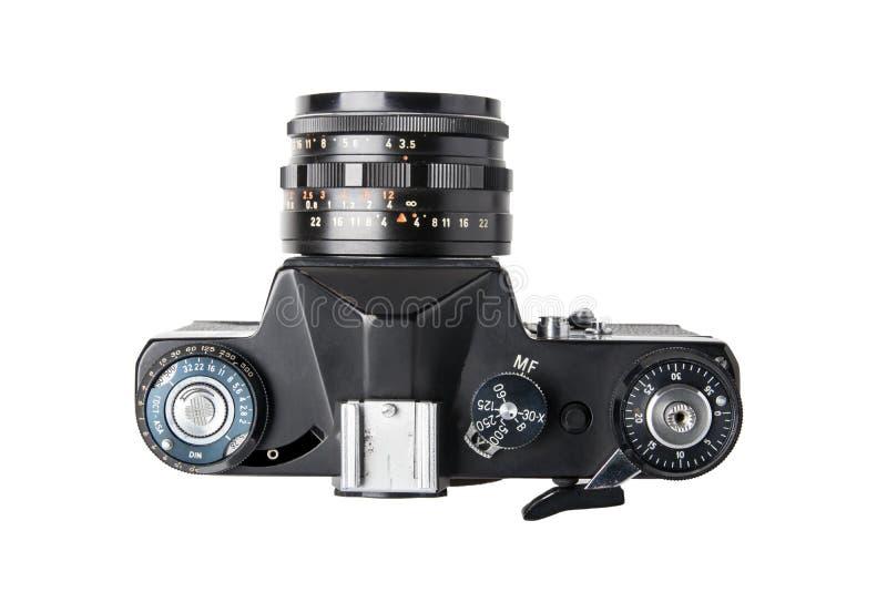 L'appareil-photo a isolé Vue supérieure sur un vieil isolat de caméra de SLR de miroir de film image stock