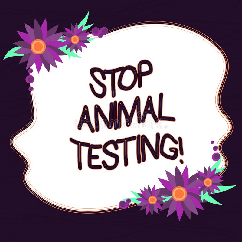 L'apparence conceptuelle d'écriture de main arrêtent l'expérimentation animale Expérience scientifique des textes de photo d'affa illustration stock