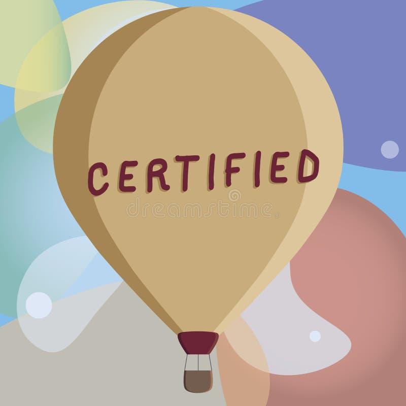 L'apparence conceptuelle d'écriture de main a certifié Le texte de photo d'affaires reconnaissent officiellement en tant que de c photo stock