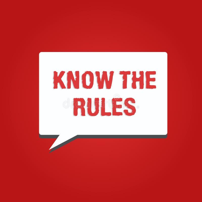L'apparence conceptuelle d'écriture de main connaissent les règles La présentation de photo d'affaires apprennent le principe ou  illustration libre de droits