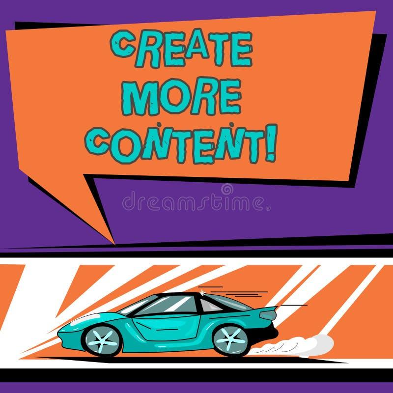 L'apparence conceptuelle d'écriture de main créent plus de contenu Le texte de photo d'affaires écrivent la phrase de mots pour a illustration libre de droits