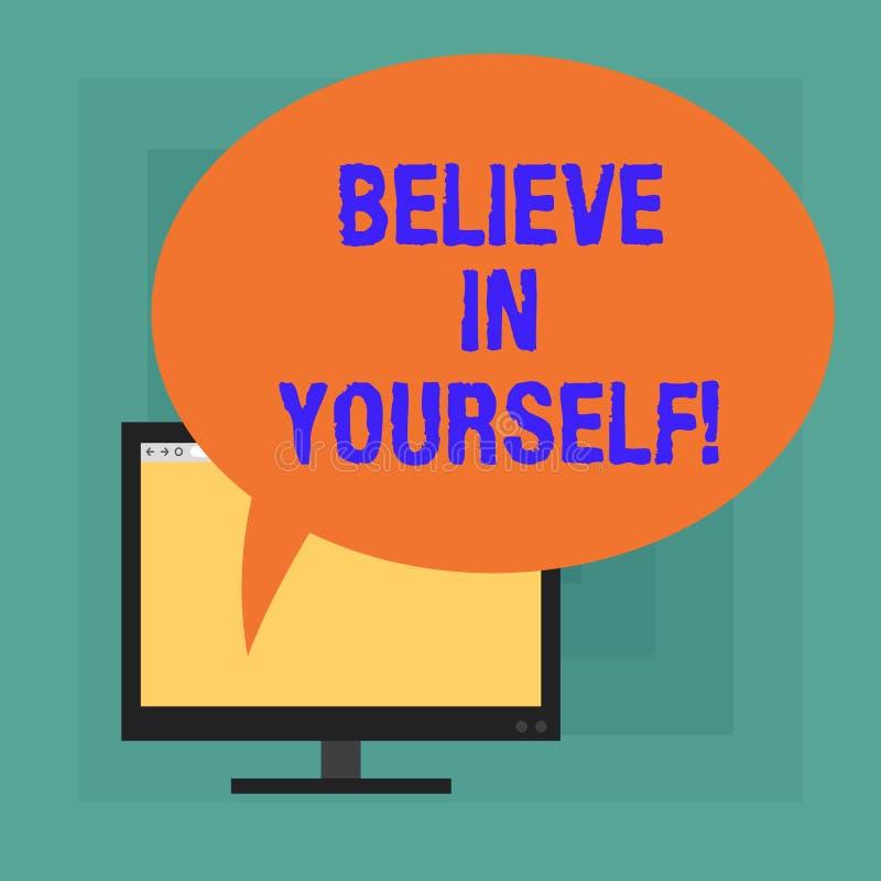 L'apparence conceptuelle d'écriture de main croient en vous-même Texte de photo d'affaires ayant la confiance dans vos capacités  illustration stock