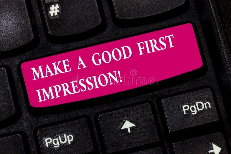 L'apparence conceptuelle d'écriture de main font une bonne première impression La présentation de photo d'affaires se présentent  photos libres de droits