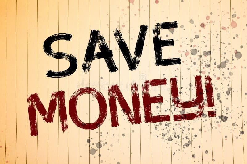 L'apparence conceptuelle d'écriture de main sauvent l'appel de motivation d'argent Les photos d'affaires que la présentation rédu photographie stock