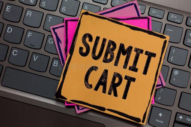 L'apparence conceptuelle d'écriture de main soumettent le chariot La photo d'affaires présentant envoyant la liste d'achats d'art photographie stock libre de droits
