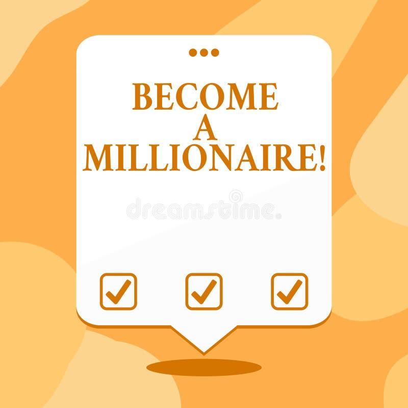 L'apparence conceptuelle d'écriture de main vont bien à un millionnaire Personne des textes de photo d'affaires dont la richesse  illustration libre de droits