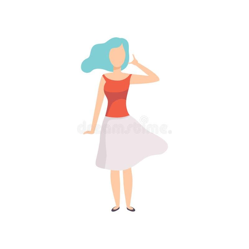 L'apparence de jeune femme m'appellent geste de main, composent mon numéro, m'appellent de retour, caractère sans visage de fille illustration stock