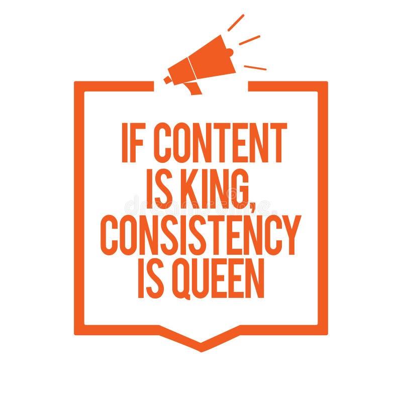 L'apparence de note d'écriture si le contenu est roi, cohérence est reine Mégaphone de présentation de persuasion de stratégies m illustration stock