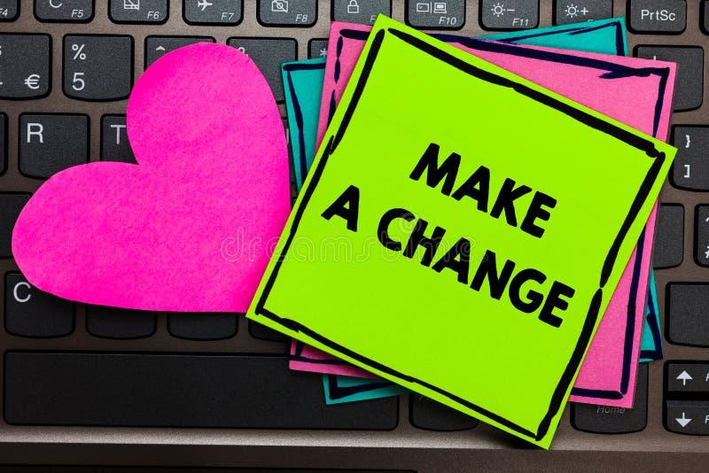 L'apparence de signe des textes apportent une modification La photo conceptuelle créent un changement de différence font métamorp photo libre de droits