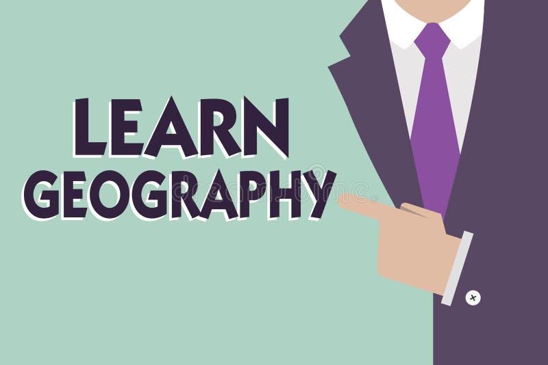 L'apparence de signe des textes apprennent la géographie Étude conceptuelle de photo des caractéristiques physiques de la terre e photographie stock libre de droits