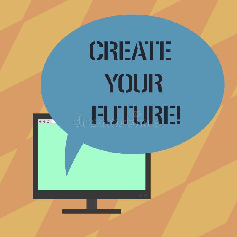 L'apparence de signe des textes créent votre avenir Le travailler conceptuel de photo dur pour former votre vie et pour avoir la  illustration de vecteur