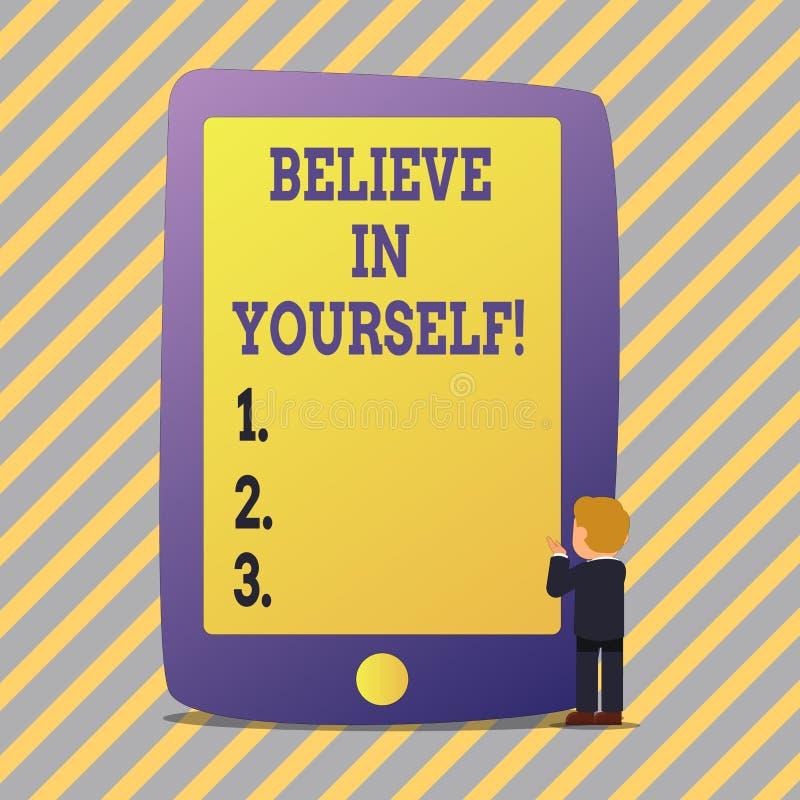 L'apparence de signe des textes croient en vous-même Croyance conceptuelle de foi de confiance de courage de positivité de déterm illustration de vecteur