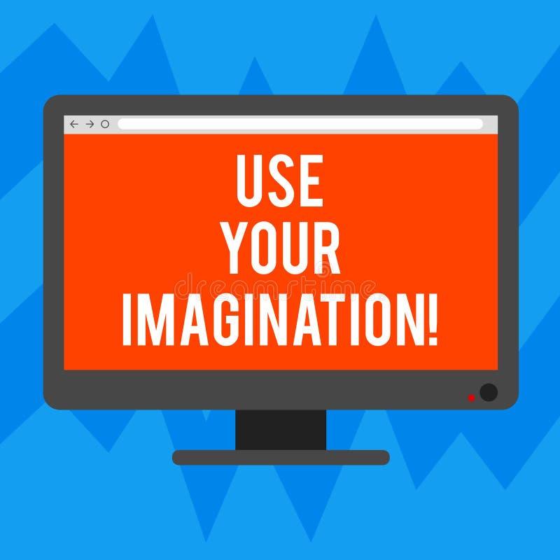 L'apparence de signe des textes emploient votre imagination La photo conceptuelle utilisant la capacité de former les images ment illustration stock