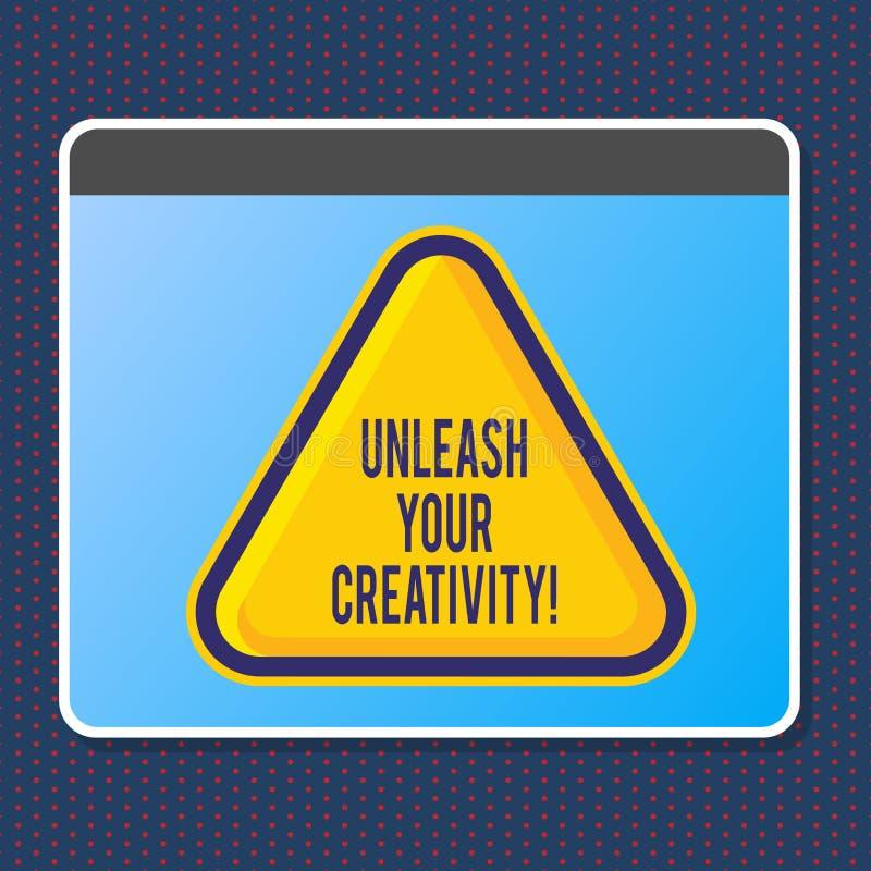 L'apparence de signe des textes lâchent votre créativité La photo conceptuelle développent la sagesse personnelle de caractère fa illustration stock