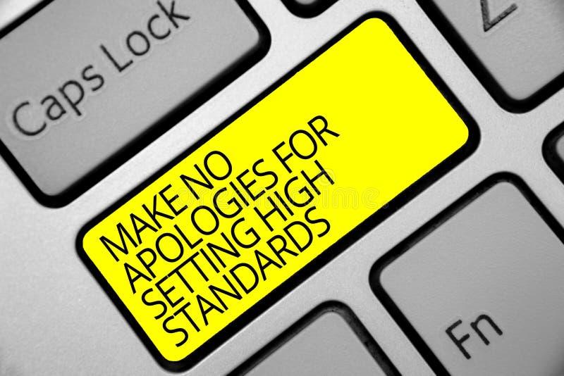 L'apparence de signe des textes ne font aucune excuse pour fixer des niveaux élevés Clé de recherche de jaune de clavier de produ images stock