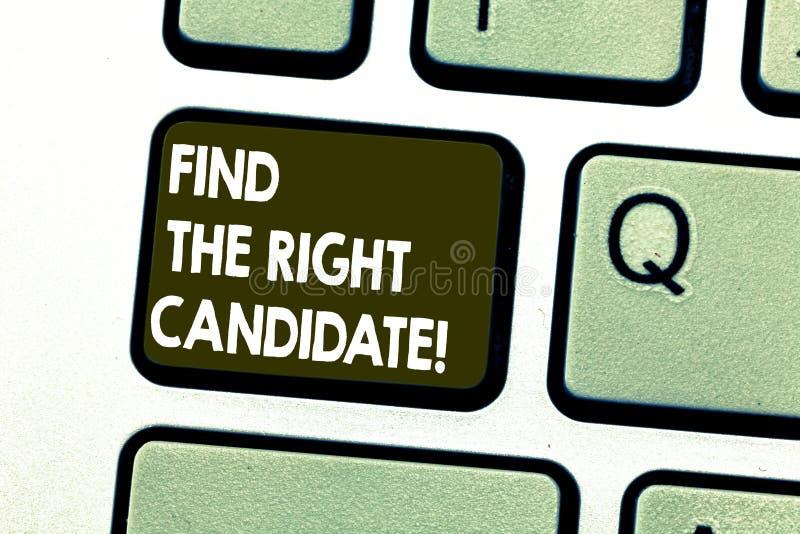 L'apparence de signe des textes trouvent le candidat droit Recrutement conceptuel de photo cherchant pour l'excellente clé de cla photo libre de droits