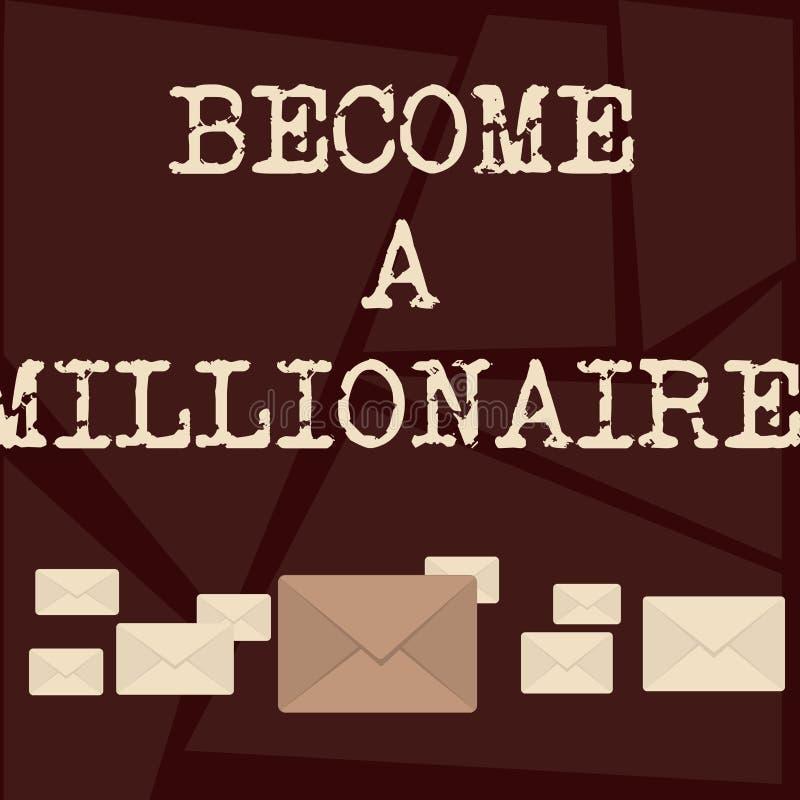 L'apparence de signe des textes vont bien à un millionnaire Personne conceptuelle de photo dont la richesse est égale ou dépasse  illustration de vecteur