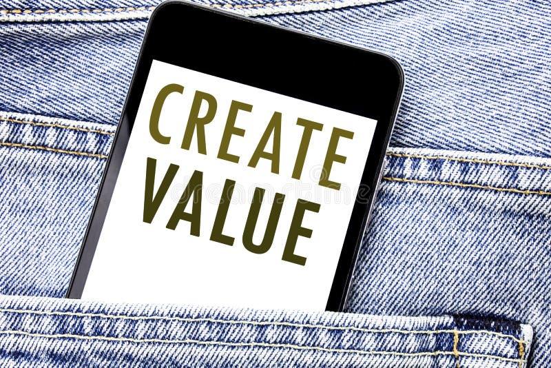 L'apparence des textes d'annonce d'écriture créent la valeur Concept d'affaires pour créer le téléphone portable de téléphone écr illustration stock