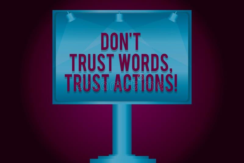 L'apparence Don T de signe des textes font confiance que les mots font confiance à des actions Photo conceptuelle moins parler pl illustration stock