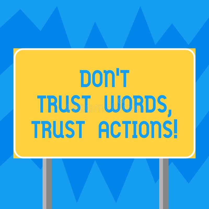 L'apparence Don T de signe des textes font confiance que les mots font confiance à des actions Photo conceptuelle moins parler pl illustration libre de droits