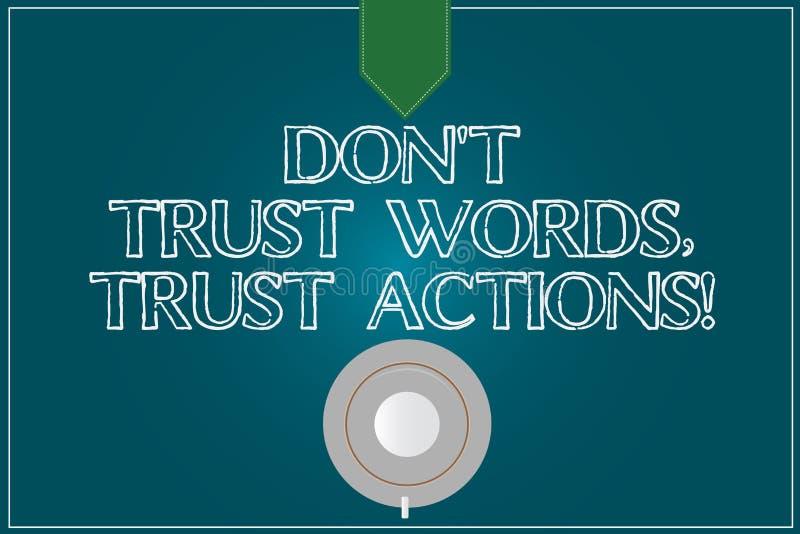 L'apparence Don T de signe des textes font confiance que les mots font confiance à des actions Photo conceptuelle moins parler pl illustration de vecteur