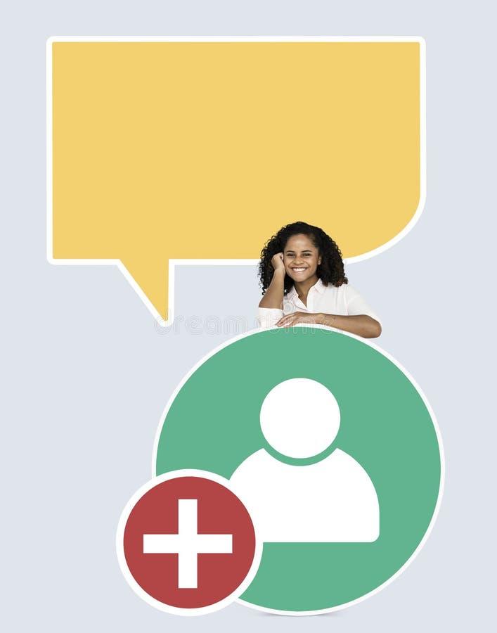 L'apparence gaie de femme ajoutent l'icône d'utilisateur d'amis images stock