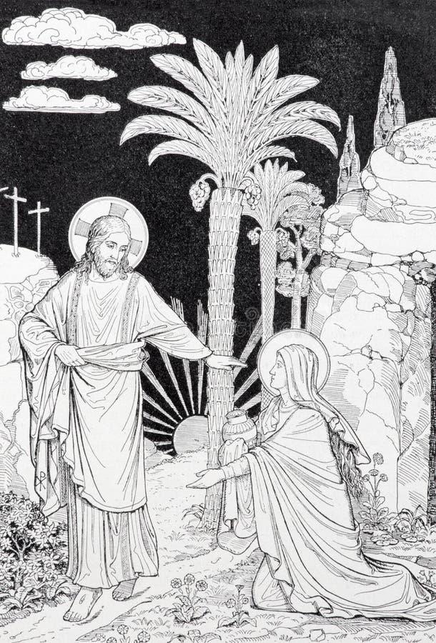 L'apparizione del signore a Maria di litografia di Magdalen immagini stock