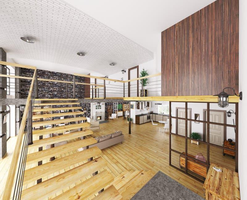 L'appartamento 3d interno del sottotetto rende royalty illustrazione gratis