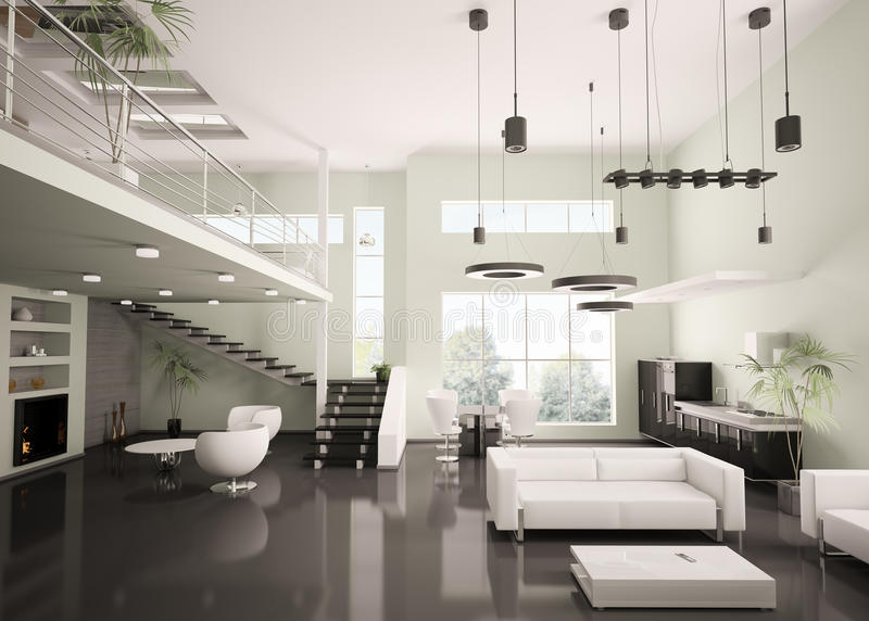 L'appartamento moderno 3d interno rende illustrazione vettoriale