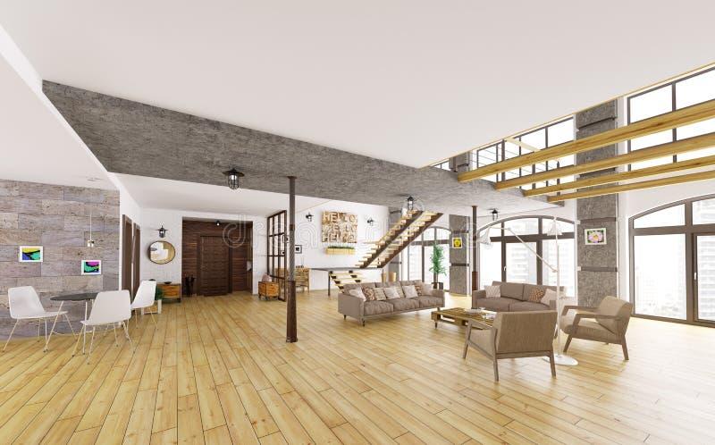 L'appartamento moderno 3d interno del sottotetto rende illustrazione vettoriale