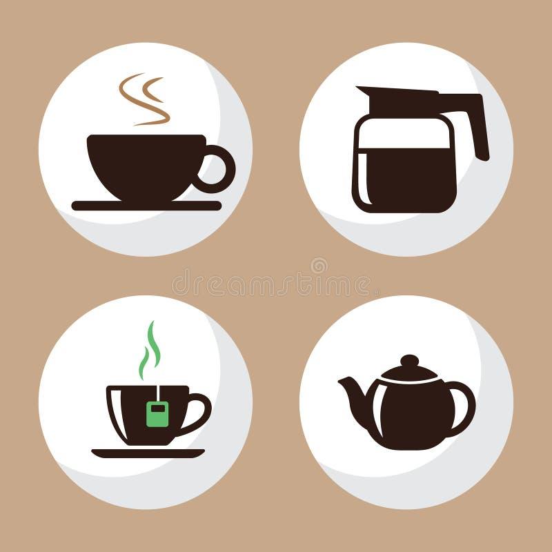 L'appartement d'icônes de tasse de café et de thé a placé 3 images stock