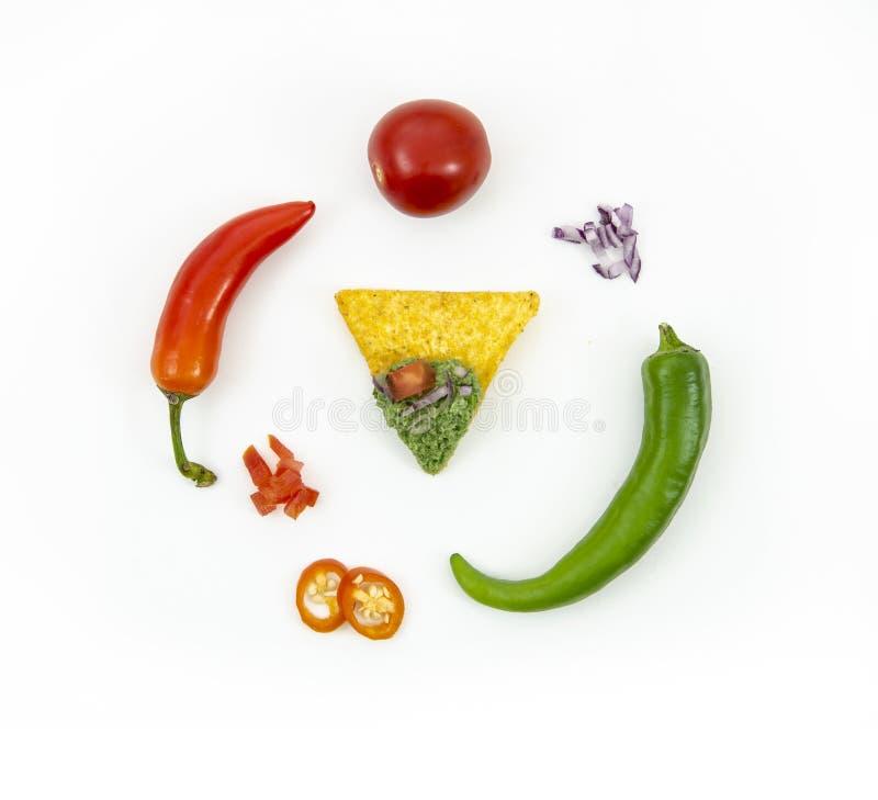 L'appartement de vue supérieure étendent les ingrédients de nourriture mexicains frais - les frites de nachos et le Salsa Verde,  photos stock