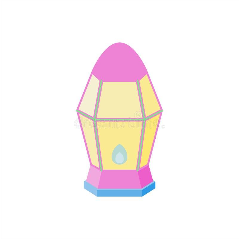 L'appartement a isol? le kareem de Ramadan et le vecteur color?s de lanterne de Mubarak d'eid, de couleur en pastel, d'illustrati illustration stock