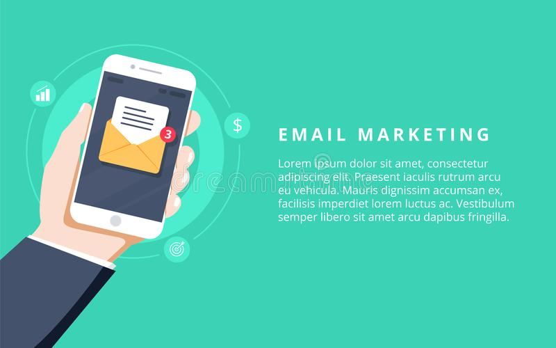 L'appartement pour le marketing d'email, la vente de bulletin d'information, l'abonnement d'email et l'égouttement font campagne  illustration libre de droits
