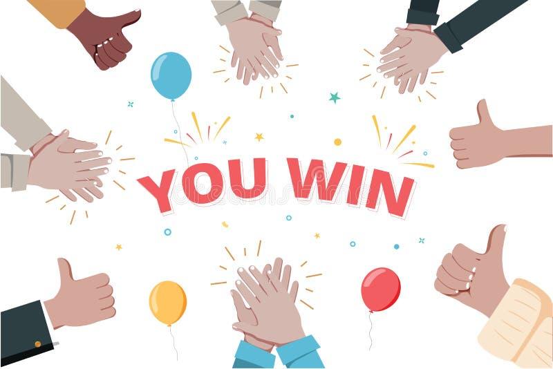 L'applaudissement de mains et vous gagnent la bulle de la parole Banni?re pour des affaires, le marketing et la publicit? Illustr illustration stock